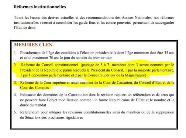 Proposition de réforme du Conseil Constitutionnel contenu dans le Yoonu Yokkute